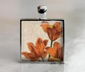 Antique Orange Lilies Square 1 inch Glass Tile Silver Necklace Keychain