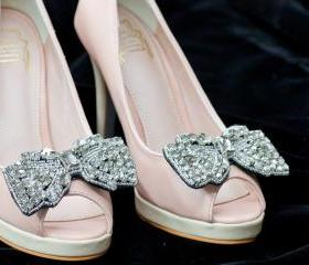 Rhinestone gem bow shoe clips,Set of 2 for bridal wedding