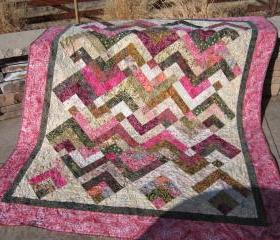 Batik Quilt Pink and Green