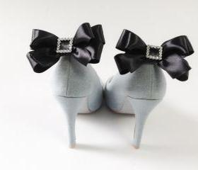 Satin bow shoe clips,Set of 2