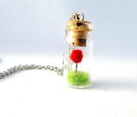 Terrarium Lorax Necklace, Red Pom Pom Truffula Tree on Green Grass Needle Felted