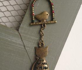 Watch the Birdy - Antique Bronze Cat Necklace