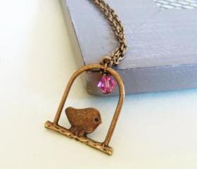 Antique Bronze Bird Swing Necklace