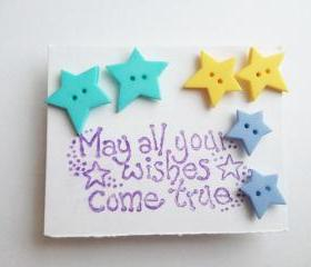 Make a Wish- Star Button Trio Ear Studs