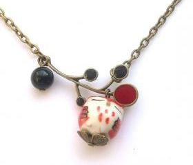 Antiqued Brass Leaf Agate Porcelain Owl Necklace