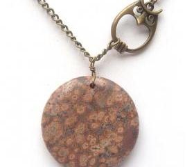 Antiqued Brass Owl Poppy Jasper Necklace