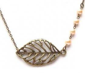 Antiqued Brass Leaf Pearl Necklace