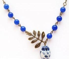 Antiqued Brass Leaf Blue Jade Porcelain Owl Necklace