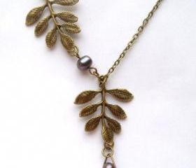 Antiqued Brass Leaf Fresh Water Pearl Necklace