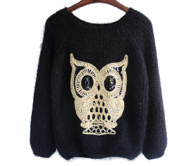 Black Lovely Ow lSuper Warm Sweater
