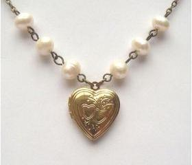 Antiqued Brass Heart Locket Fresh Water Pearl Necklace