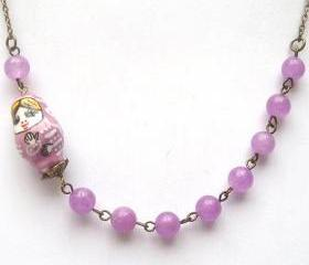 Antiqued Brass Purple Jade Porcelain Matryoshka Necklace
