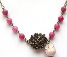 Antiqued Brass Flower Purple Jade Porcelain Owl Necklace
