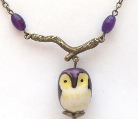Antiqued Brass Branch Crystal Porcelain Owl Necklace