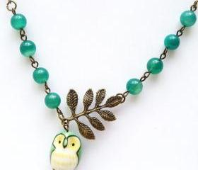 Antiqued Brass Leaf Green Agate Porcelain Owl Necklace