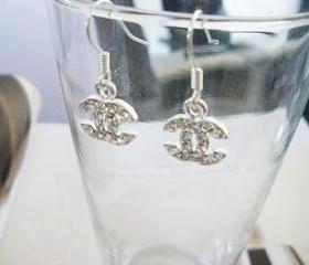 Dazzling Silver Tone Dangle Earrings with Swarovski Crystal