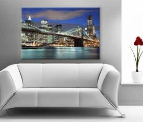 16x10 Digital printed Canvas New York night skyline photo wall, (size: 16x10 inch plus border).