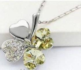 New Swarovski Crystal Lucky Four Leaf Clover Pendant Necklace
