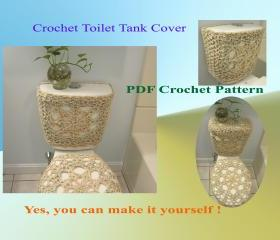 Crochet Pattern - Toilet Tank Cover (front and sides) - (3VC2013)