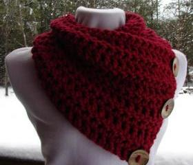 The Saranac Coconut Button Cowl Scarf - Cranberry