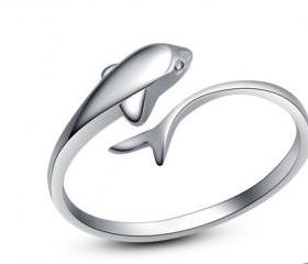 Adjustable Sterling Silver Dolphin Ring