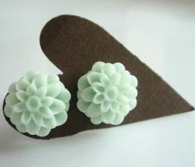 Mint Green Chrysanthemum Flower Bud Stud Earrings