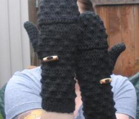 Black convertible Mittens Fingerless Gloves, crochet gloves, ready to ship.