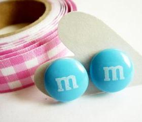 Blue M&M Chocolate Candy Stud Earrings