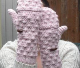 Powder Pink convertible Mittens Fingerless Gloves, crochet gloves, ready to ship.
