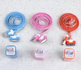Total 6pcs/lot! USB Cable Cord(1M) & USB Power Charger For Iphone 4/4s