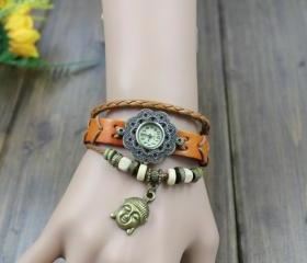 New Retro Vintage Creative Leather Bracelet Watch