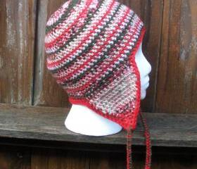 Crochet earflap beanie skullcap in variegated winter colors, ready to ship.