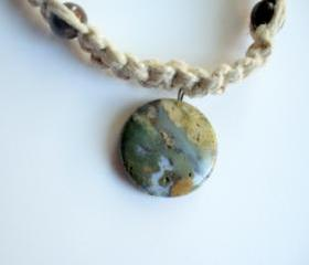 Hemp Necklace with Ocean Jasper Pendant, Macrame