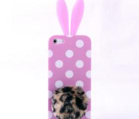 Cute Pink 3D Wave Point design Rabbit Ear and Leopard Tail Silicone Case for Iphone 4/4s