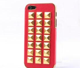 [grdx00200]Fashion Rivet on Litchi Grain Stick Handmade Hard Case For Iphone 4/4s