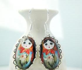 Floral matryoshka doll white lily small oval glass silver lace earrings
