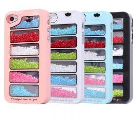 New Bling Rainbow Element Crystal Phone Cover Case For iPhone 4/4s-pink