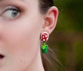 Super Mario Man-eater Flower Fimo Earrings