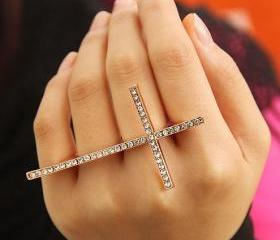 Fashion Rhinestone Silver Cross 3 Fingers Ring