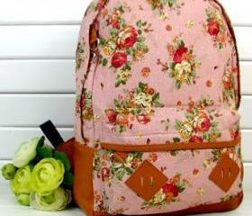 Fashion Vintage Cute Flower Schoolbag Campus Bag Backpack -pink