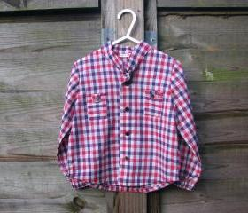 Boys red and purple checked shirt