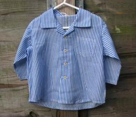 Boys white and blue striped shirt
