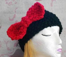 Head band with jumbo red bow