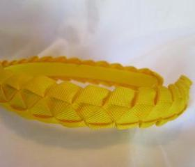 Yellow woven ribbon headband for girls
