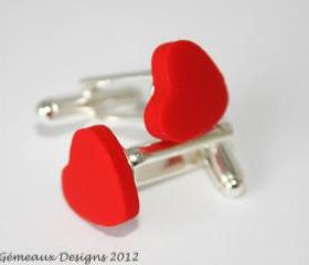 Red heart cufflinks, valentines gift, romantic cufflinks, wedding cuff links