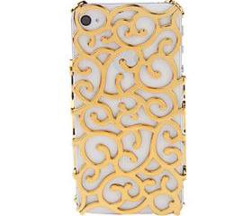 Golden Delicate Flower Pattern Hard Case for iPhone 4 and 4S