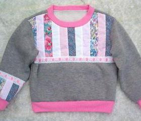 Girls Gray Sweatshirt w/ Pink Strip Quilting--SIZE 4 to 5
