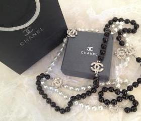 Designer Silver CC Black White Diamond & Pearl Necklace