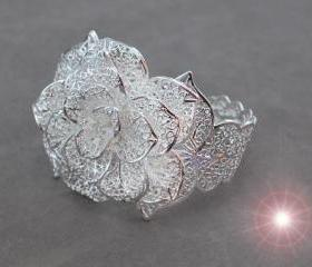 Rose Flower .925 Sterling Silver Ring, Adjustable Size