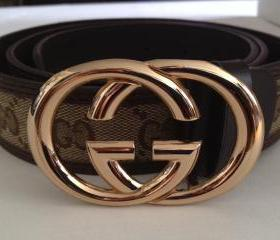 Vintage 80's Designer Gucci Inspired Gold Buckle Brown Tan GG Monogram Unisex Belt